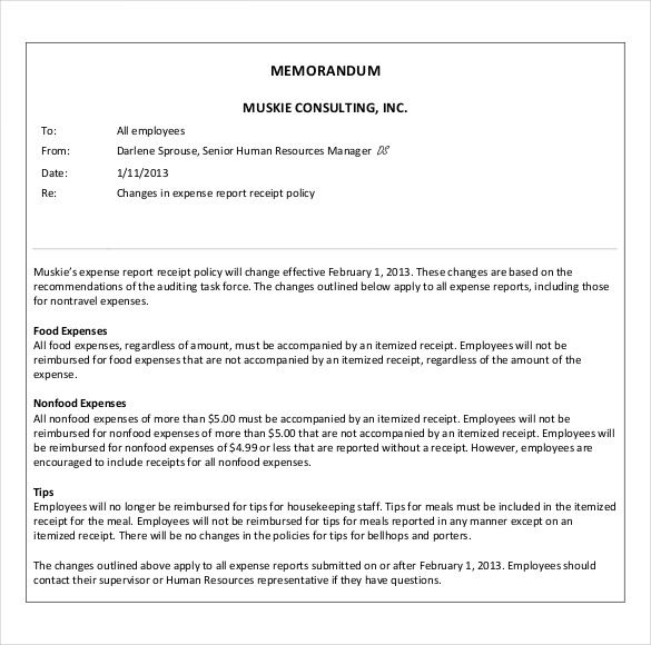 5 Sample Business Memo Templates Example Doc Word Pdf