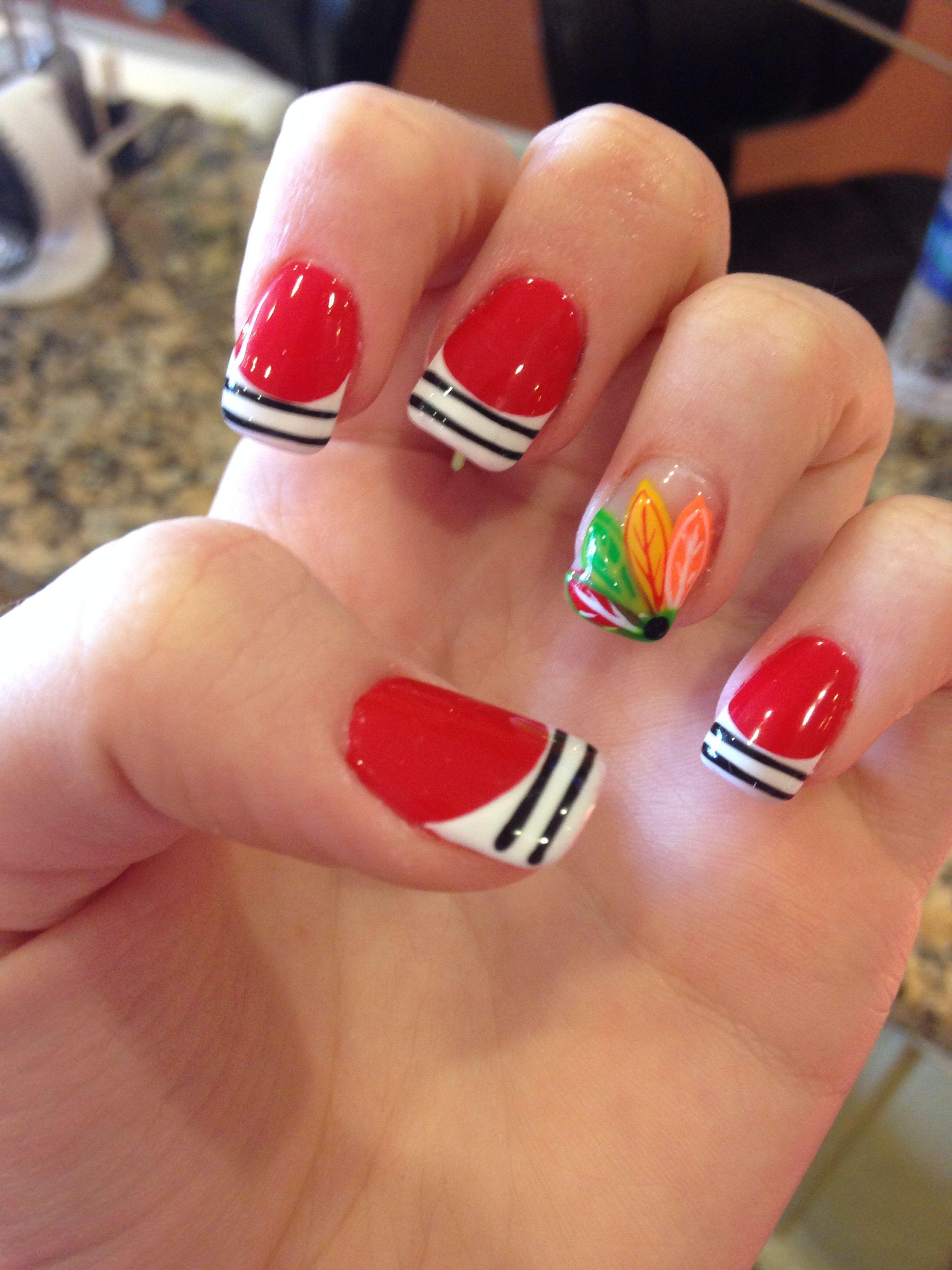 Chicago Blackhawks Hockey Nails
