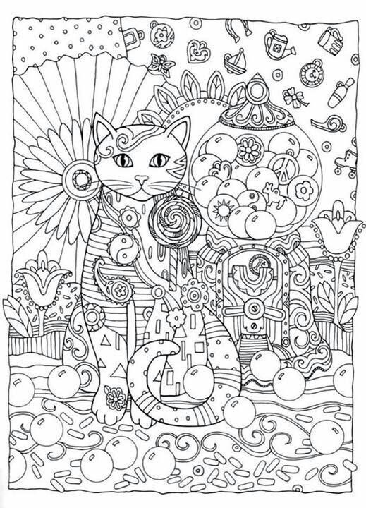Cat Abstract Doodle Zentangle Paisley Coloring Pages Colouring Adult