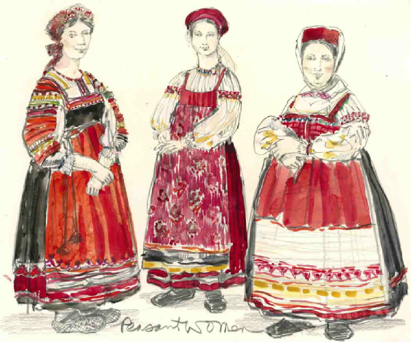 The Inspector General (Peasant Women). Costume design by William Ivey Long.