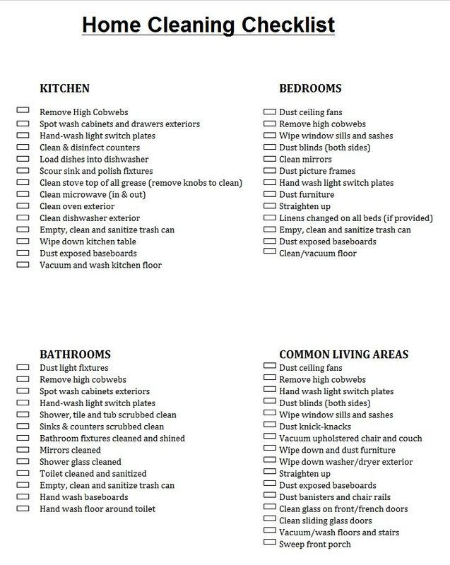 2ca38c9beb0cc27852c9c03427a0e6e3jpg (637×800) House cleaning - sample new apartment checklist