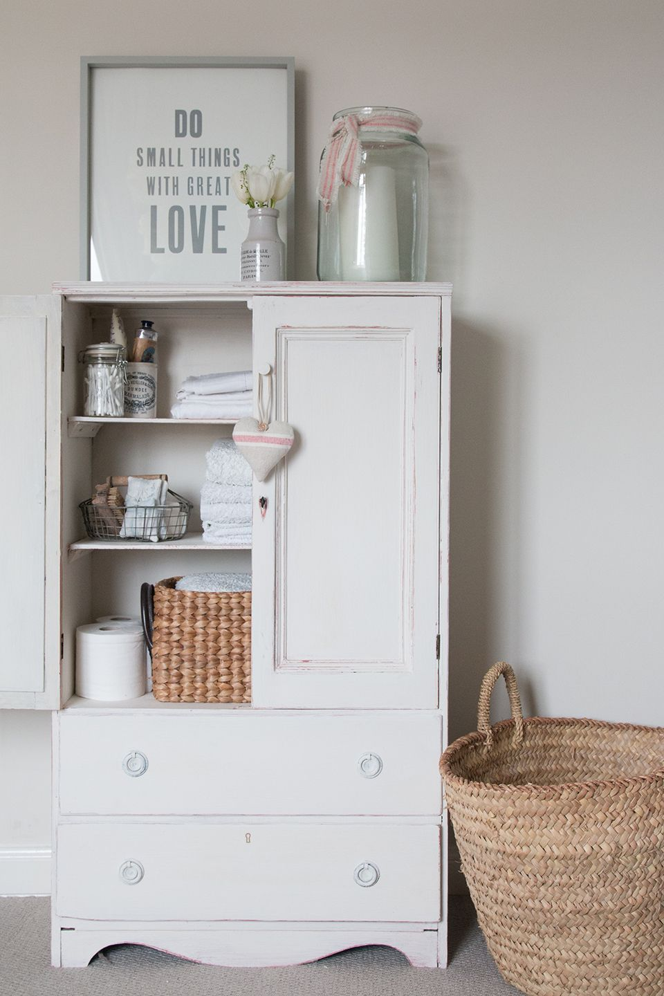 Linen Cupboard updated with Chalk Paint® in Old White over ...