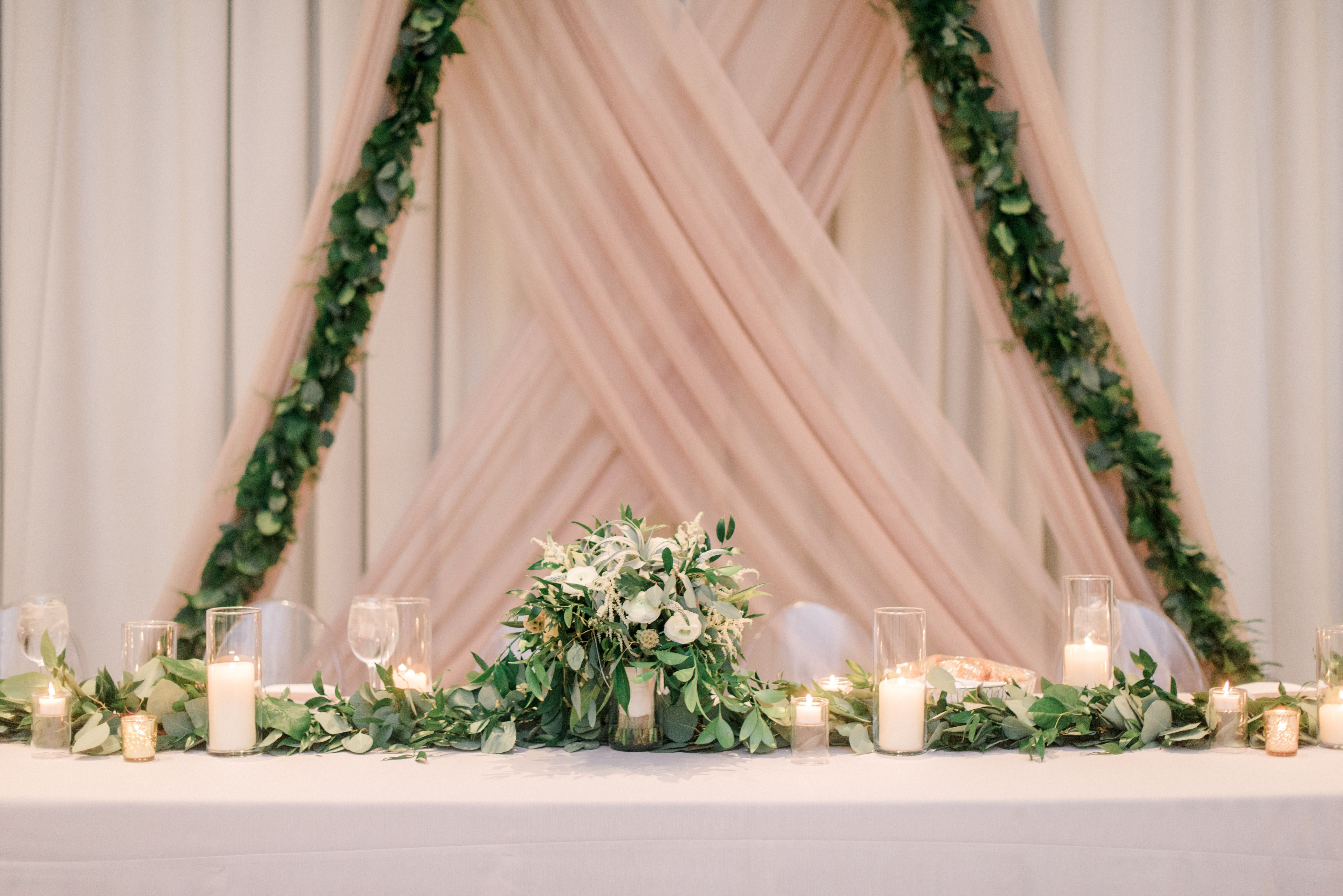 Wedding decor with ghost chairs  Beautiful summer wedding reception decor with sheer pink curtains