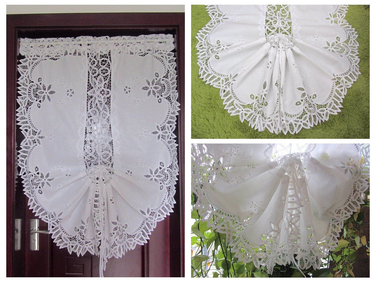 Adjustable Battenburg Lace Balloon Shade Curtain White Hand Embroidery Fantastic Curtains Drapes Collectibles