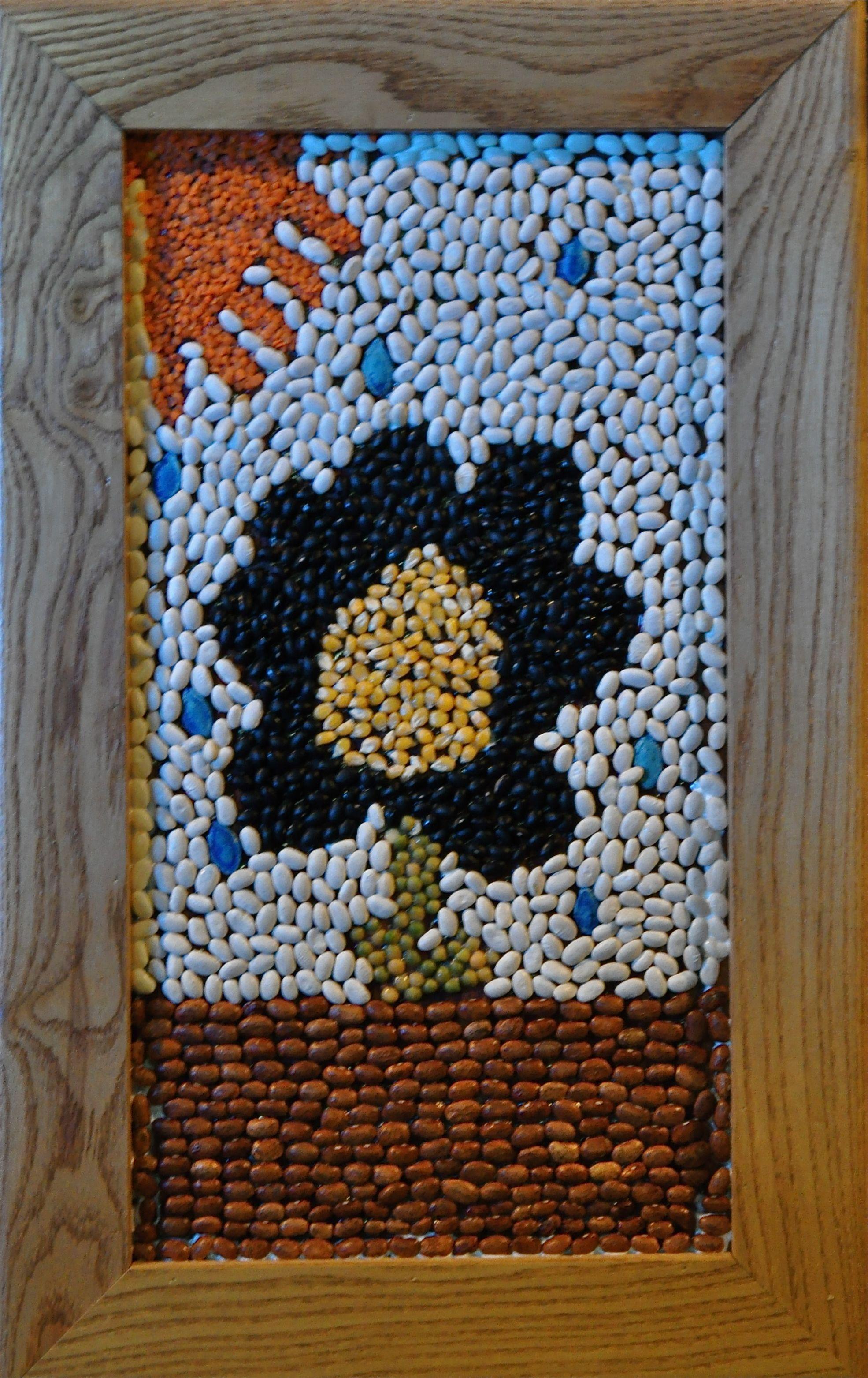 Bean And Seed Mosaic Crafts Ideas Beans Kids Art