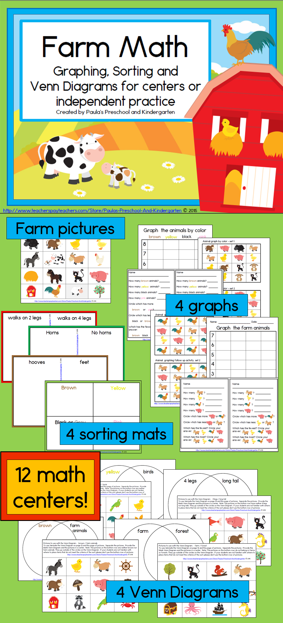 sorting graphing and venn diagrams with a farm theme will engage