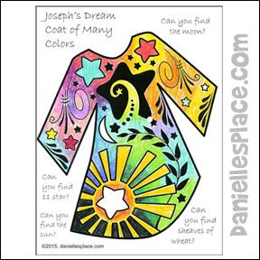 search and find josephs colorful coat coloring and