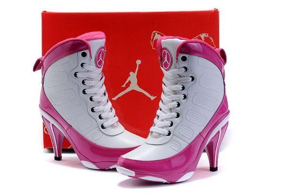 buy white pink jordan 9 heels for women
