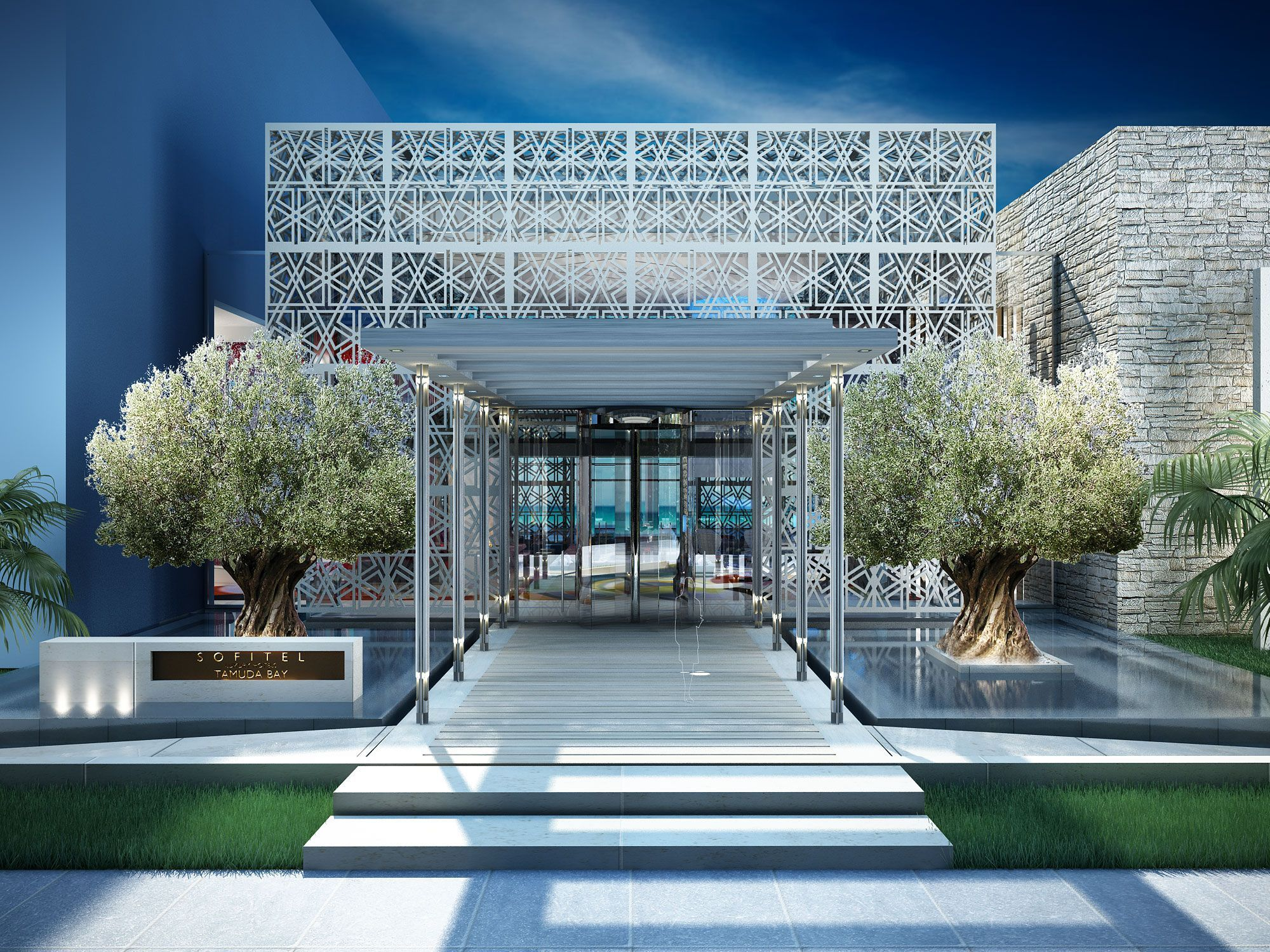 Modern architecture hotel entrance design africa sofitel for Hotel entrance decor