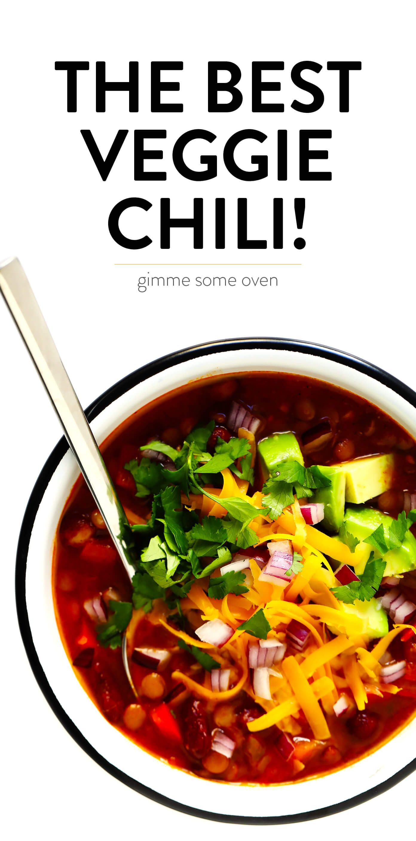 LOVE this vegetarian chili recipe Its easy to make in the or on the stovetop Its full of healthy veggies and lots of protein And it is always a crowd fave
