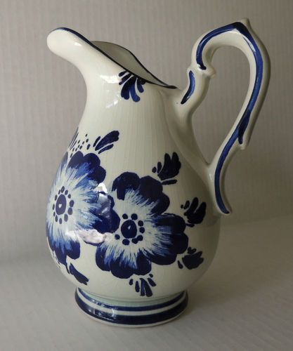 Vintage Blue Delft Pottery Pitcher Flowers Holland   eBay ...