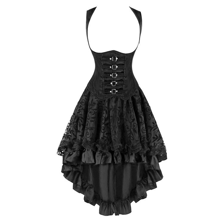 2Pcs Romantic Gothic Underbust Corset With Lace Dancing Skirt Set