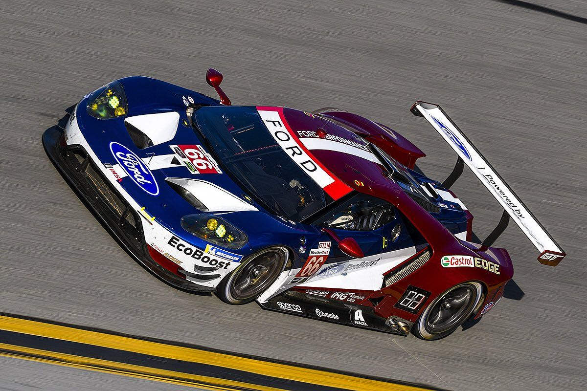 Ford Colors Featured On New Ford Gt Livery Blue Lightning Metallic Frozen White Solid Liquid Red Metallic Imsa Wec Ford