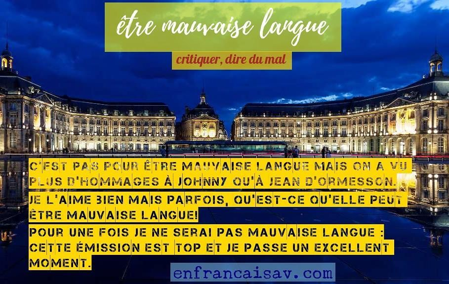 être mauvaise langue  #frenchexpression #learnfrench