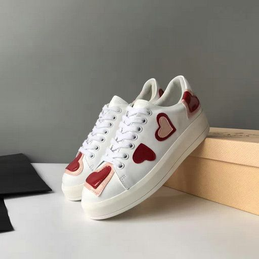8e06995fa826 2017 S S Prada Leather Heart Appliques Lace-up Sneaker in White Prada Shoes