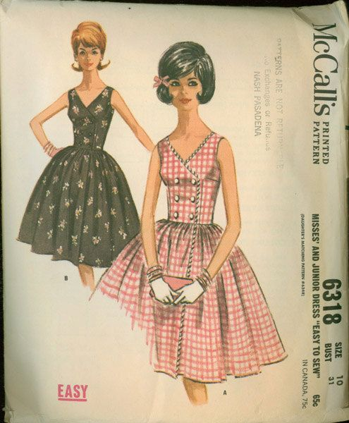 Vintage 60s Mccall 6318 Sewing Pattern Mccalls Patterns