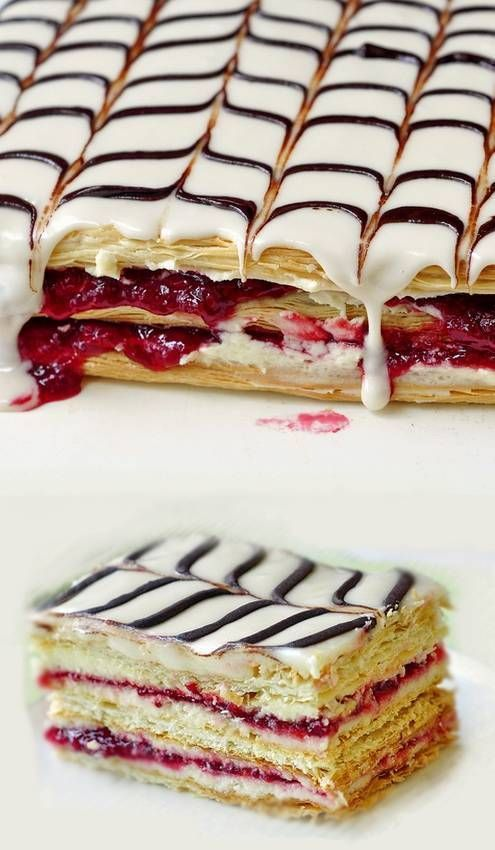 Raspberry Ercream Mille Feuille Using Ready Made Frozen Puff Pastry Makes This Impressive Dessert Easier