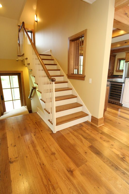 Solid Reclaimed Oak Wood Flooring And Stair Parts. Antique Reclaimed  American Oak From The ReSAWN EnCORE Collection. Interior Design By  Callaghan Interiors.