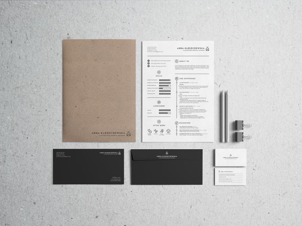 Self Promotion Set Design. Stationery Includes Curriculum Vitae