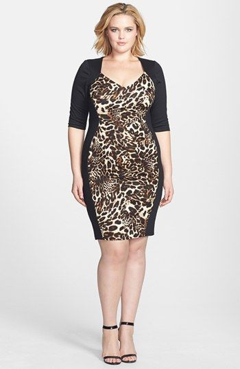 Scarlett & Jo Animal Print Colorblock Sheath Dress (Plus Size ...