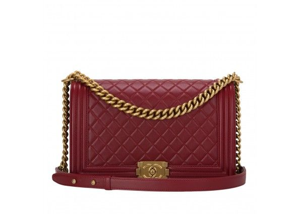 Chanel Dark Red Quilted Lambskin New Medium Boy Bag | 32| BA-AGS ... : red quilted chanel bag - Adamdwight.com
