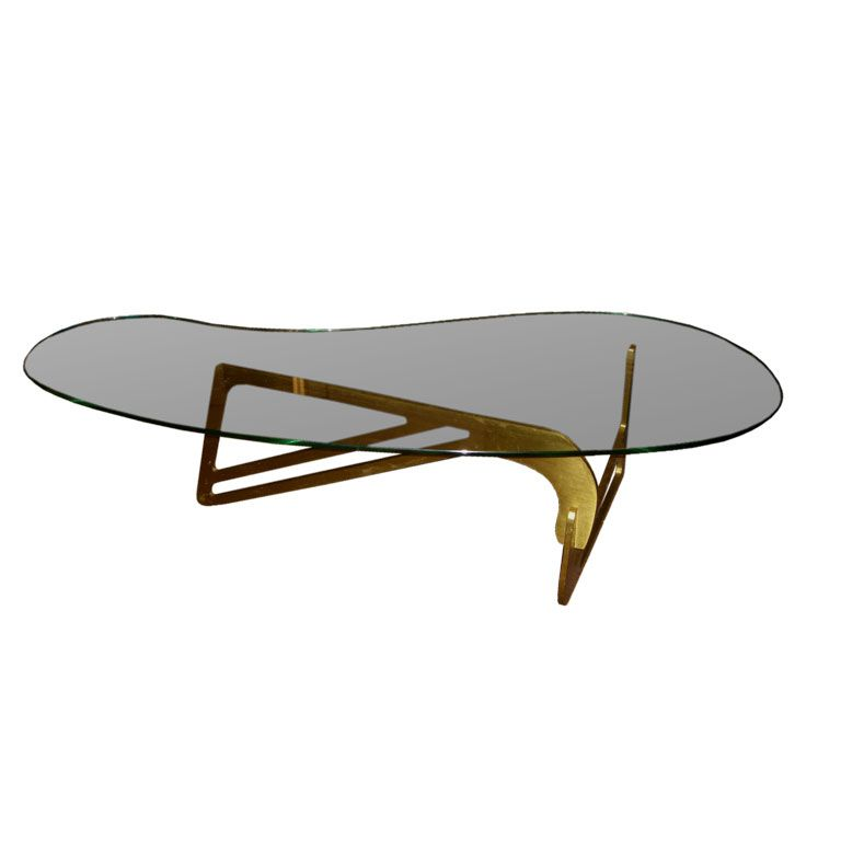 Merveilleux Mid Century Modern Coffee Table | Mid Century Modern Bronze And Bimorphic  Glass Top Coffee Table