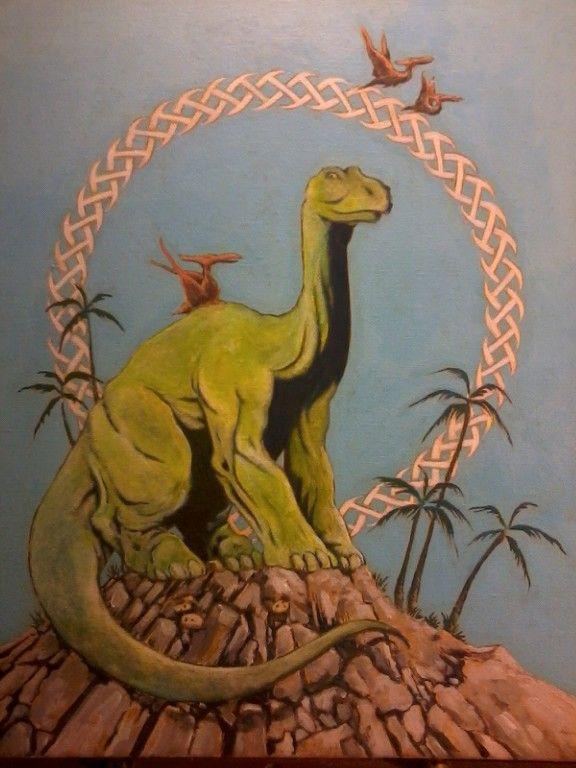 Happy Dinosaur II (Acrylic on Canvas) Copyright 2013 by James F. Baldwin, Jr.; at #GreenwayStudio