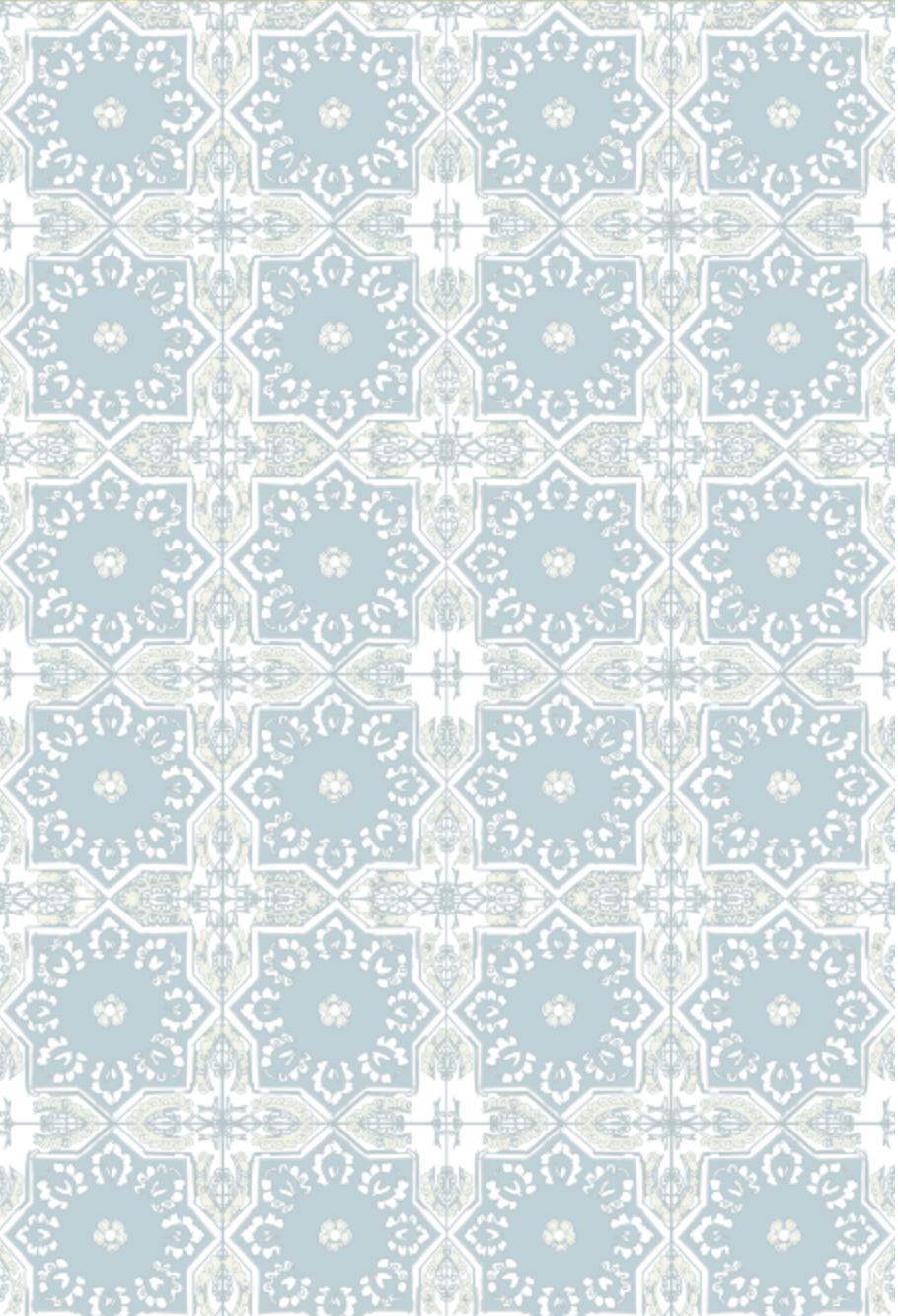 moroccan tile spanish tile eucalyptus fabric aqua beige tan mexican tile wall paper home decor design