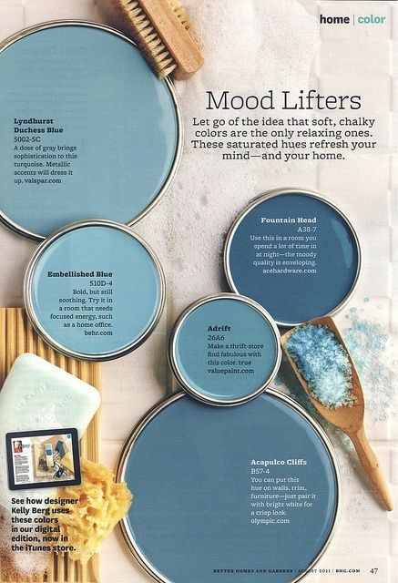 Mood-Lifting Blue Paint Colors (CCW from top: Lyndhurst Duchess Blue by  Valspar, Embellished Blue by Behr, Adrift by Value Paint, Fountain Head by  Ace ...