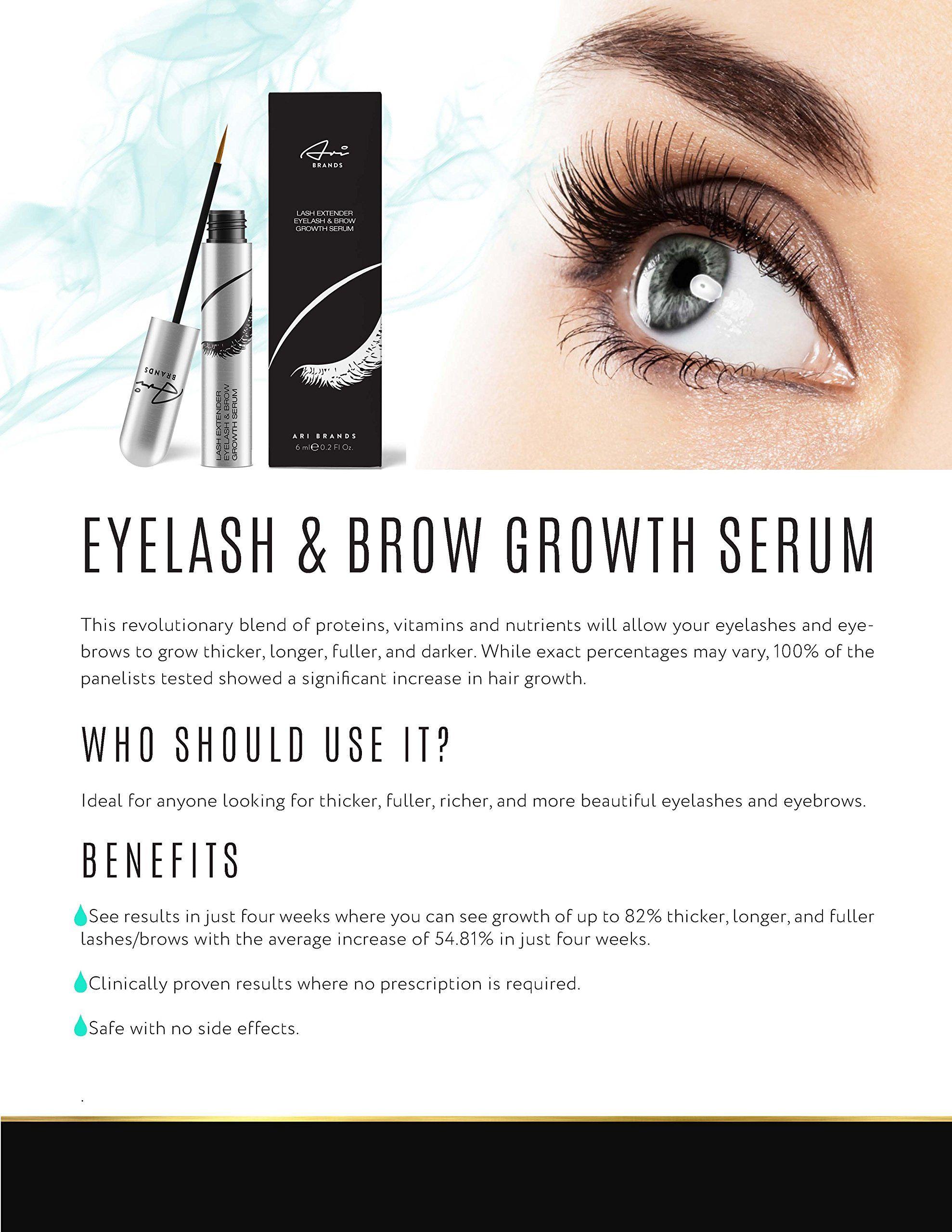 989d8881c2f Ari Brands BEST Eyelash and Eyebrow Growth Serum Clinically Proven Eyelash  Enhancing Natural Conditioner Serum for