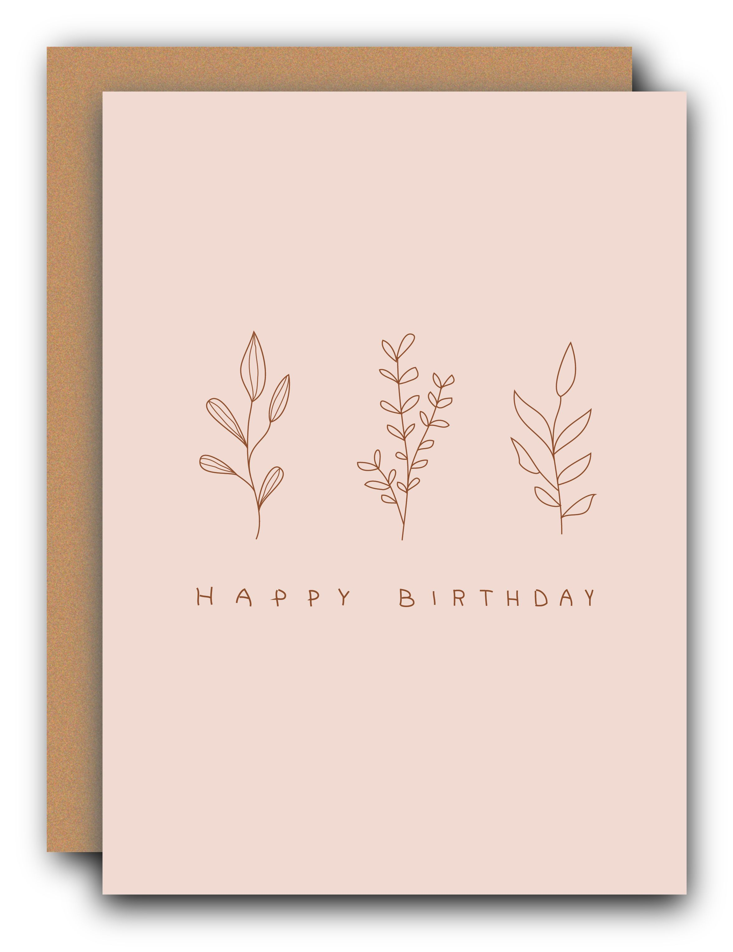Happy Birthday Pink Floral Minimal Card