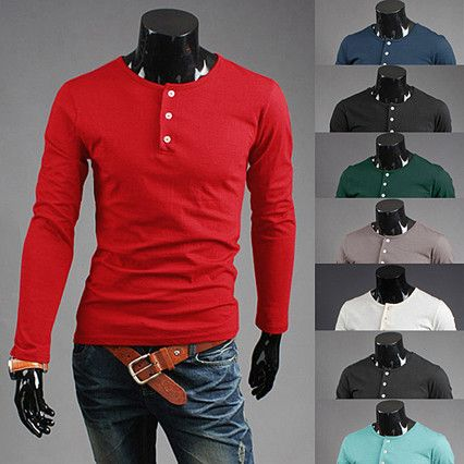 Slim Fit Fashion Men Smart Grandad Long Sleeve T-Shirt . Shop Now ...