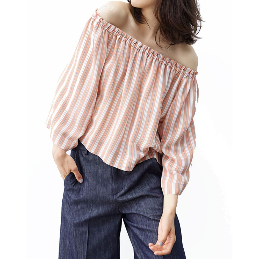Tomorrowland Orange Striped Off the Shoulder Blouse   #blouse #top #RagBone #suede #gottahaveit #newstuff #Hirotaka #fedora #summersale #tshirt #white #lulufrost #Carven #pants #laurell