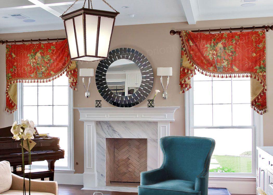 Symmetrical Flat Swag Valance on Rings around Fireplace #valances ...