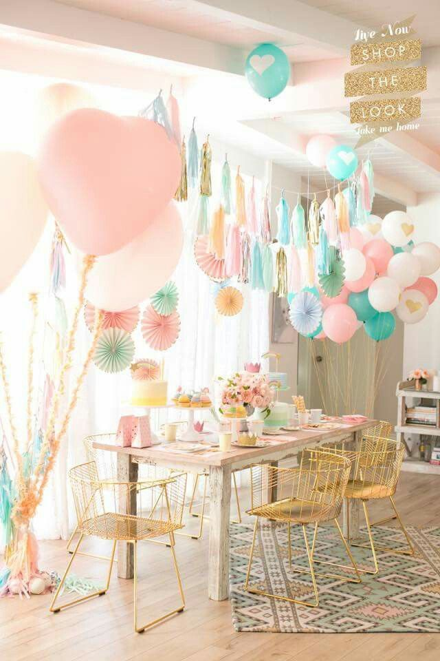 Pink birthday party with hanging balloons and pastel colors also pastell mottoparty fruhling pinterest st rh