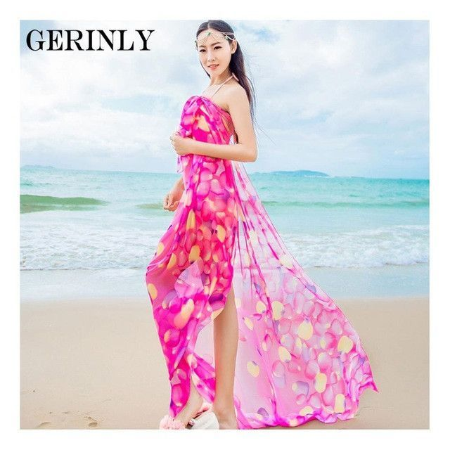 97de796f36a30 Scarves Pareo Sexy Women's Chiffon Sarongs Summer Bikini Scarf Swimsuit  Dress Beach Cover Up Tunic Wraps Ladies Shawls 150*180cm
