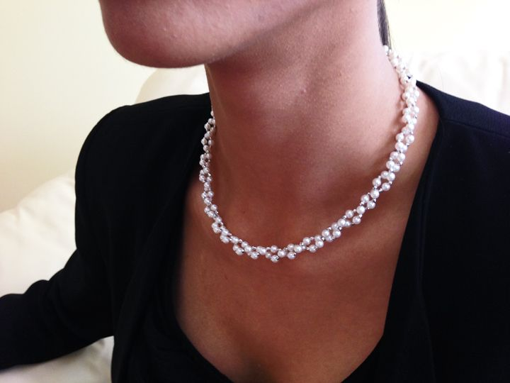 Very Elegant, Chic Japanese Akoya Baby Cultured Pearl Necklace with 18-karat White Gold Diamond Beads.  148 pearls are used.  Very Classy, Beautiful Necklace