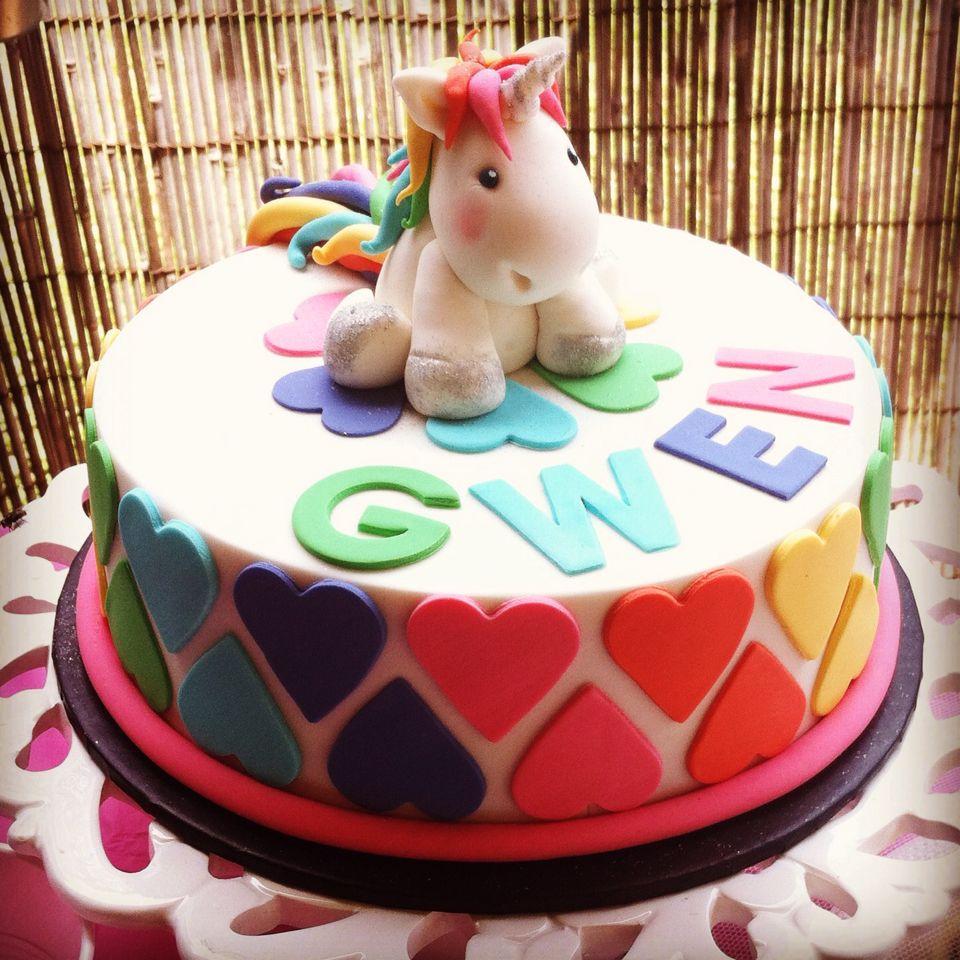 Unicorn and Rainbows 8 year old girls birthday cake handmade