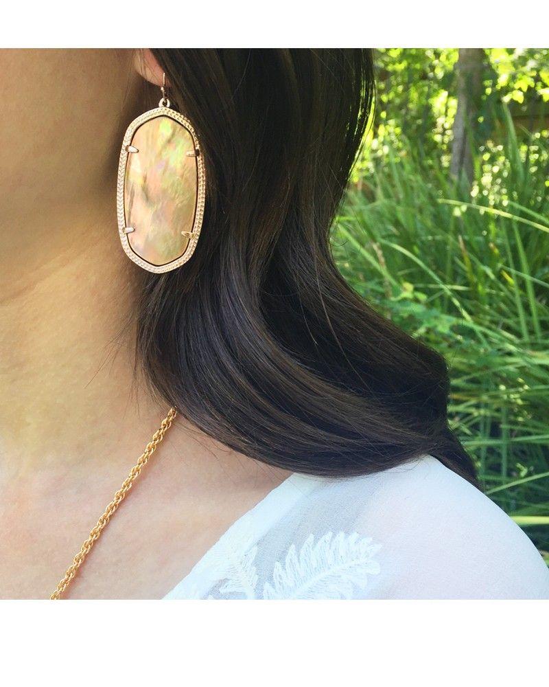 Danielle Rose Gold Earrings In Brown Pearl Kendra Scott Jewelry