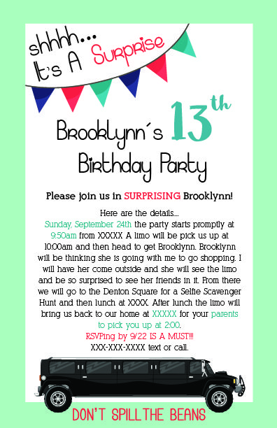 Birthday invitation to a surprise birthday party for my daughter i birthday invitation to a surprise birthday party for my daughter i had hired a limo for her and her friends and then they did an instagram selfie scavenger filmwisefo Images