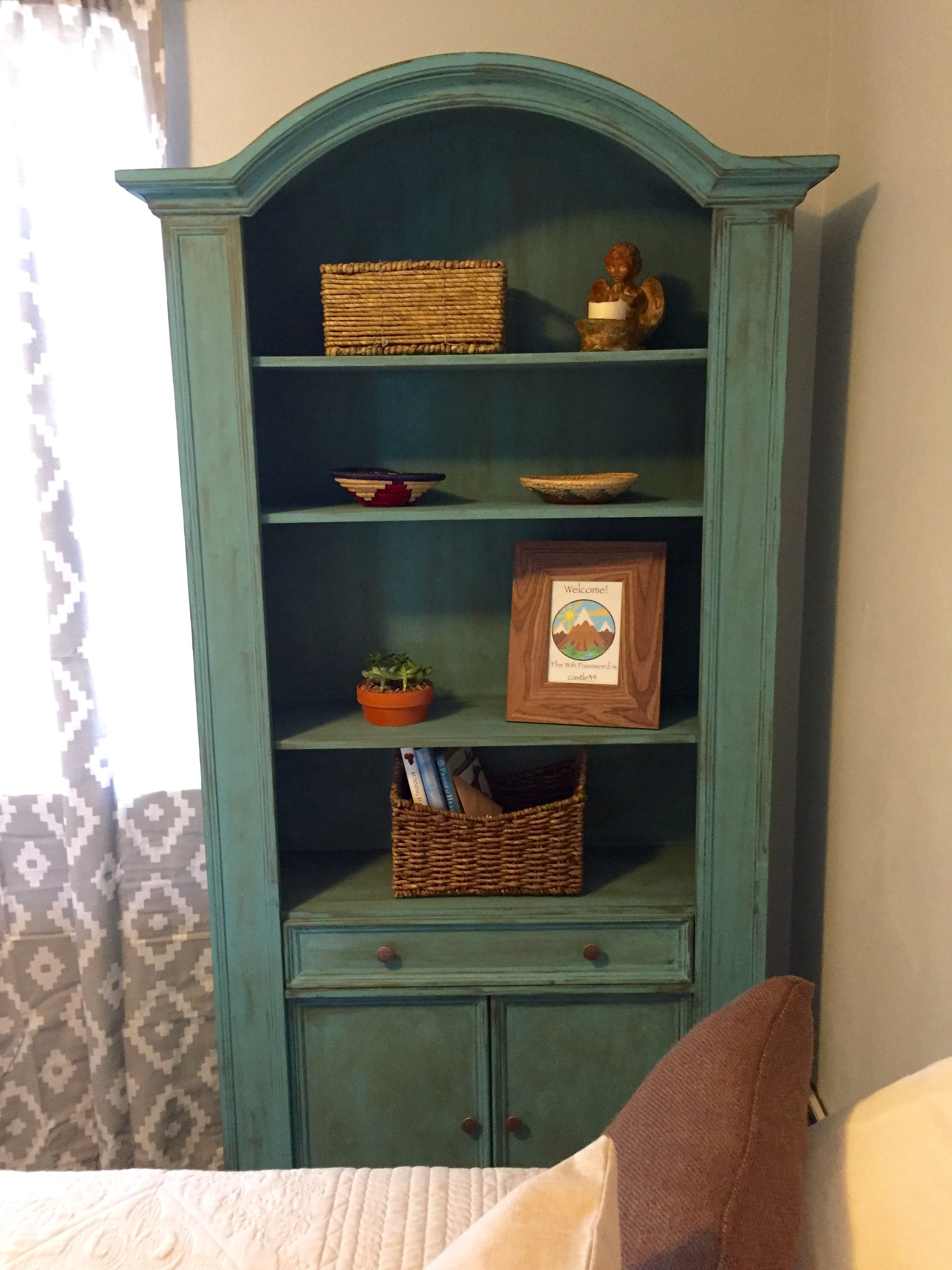 Vintage shelving painted with chalk paint and finished with antiquing wax