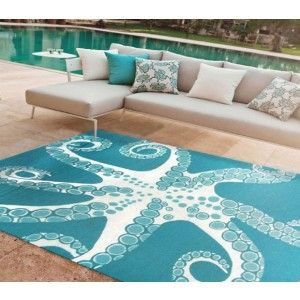 Turquoise Octopus Tentacles 5 X 8 Area Rug Beach House