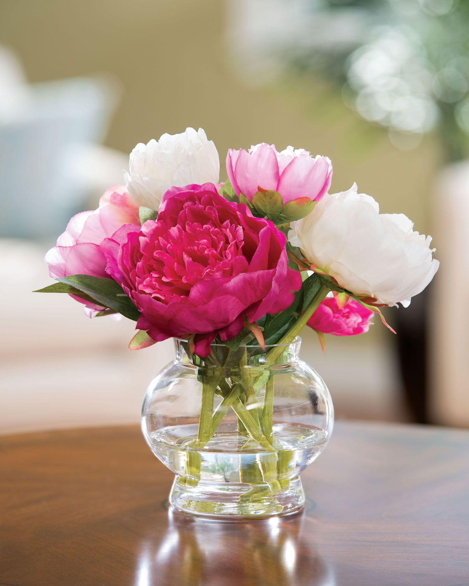 Peony silk flower centerpiece clear acrylic