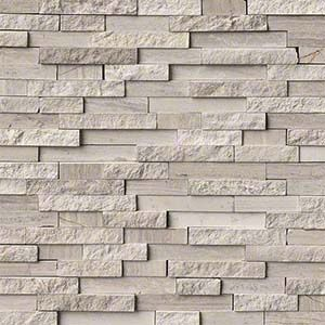 Layer On The Texture For A High Style Look Stacked Natural Stone Ledger Panels And Split Face Mosaics Bring Tactile And Architectura Tường Gạch Gạch Kiến Truc