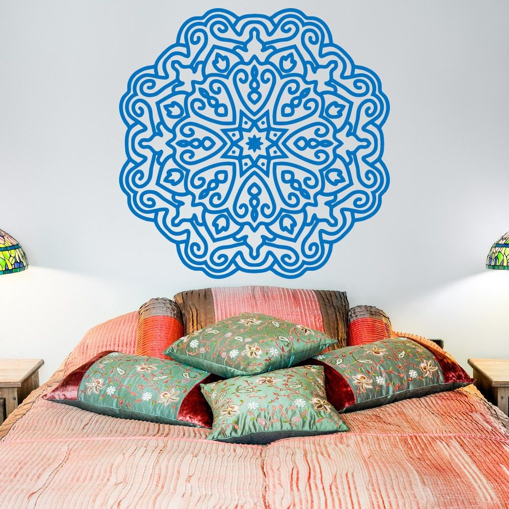 Yoga Wall Decal Mandala Lotus Flower Decals Indian Decor
