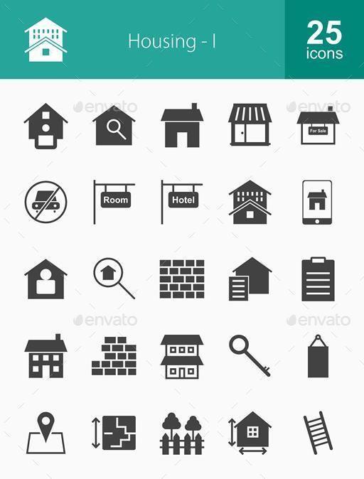 500 Housing Icons Bundle Icon, Location icon, Key icon