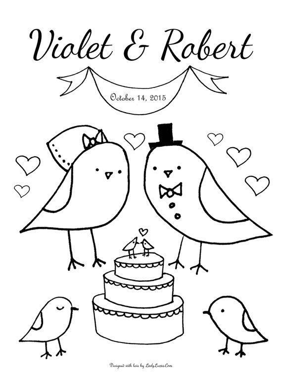Custom Wedding Coloring Sheet Adorable Love Birds Theme Printable Coloring Sheet Perfect For Diy B Wedding Coloring Pages Coloring Pages Love Birds Wedding