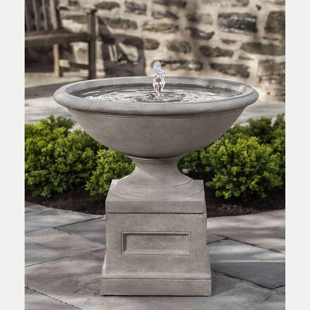 Aurelia Urn On Pedestal Cast Stone Outdoor Water Feature Urne Water