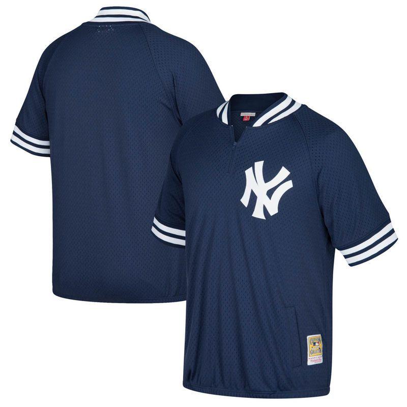 985efcd7820 New York Yankees Mitchell   Ness Cooperstown Collection Mesh Batting  Practice Quarter-Zip Jersey - Navy