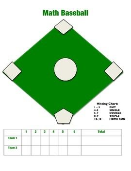 Students Roll A Dice And Add The Numbers Together The Chart Will Tell Them How Many Bases To Run Student Math Baseball Baseball Activities Kids Activity Dice